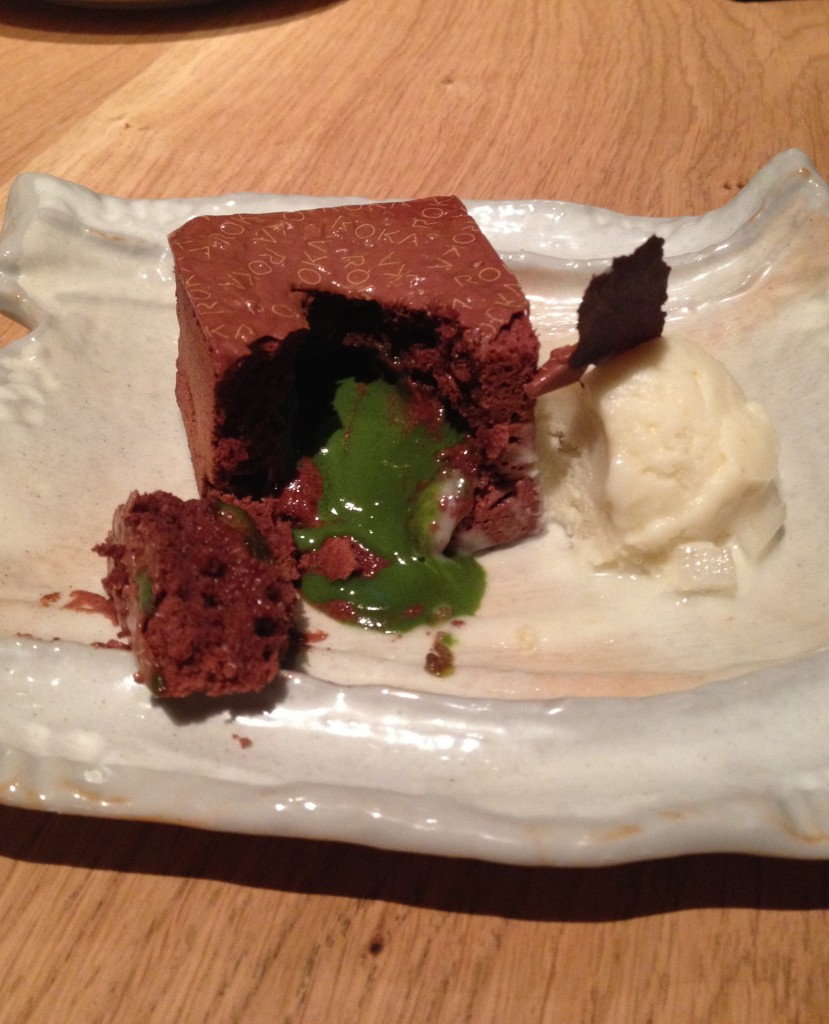 Roka - dark chocolate and green tea pudding with crunchy jivara chocolate and pear ice cream