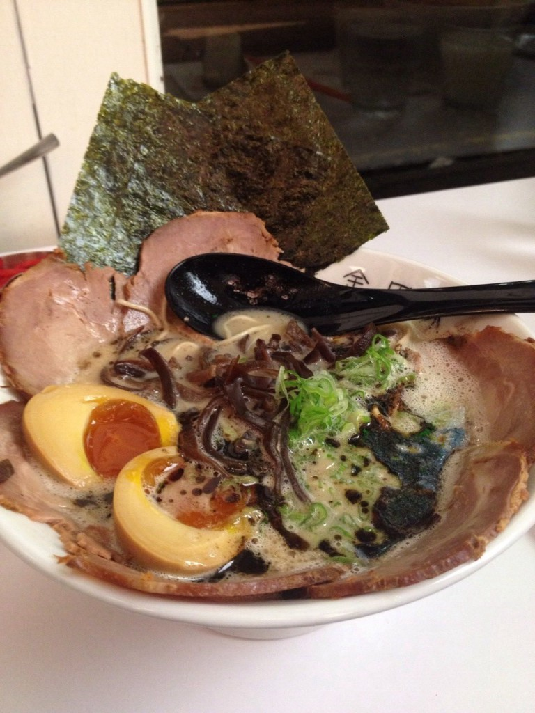 Kanadaya - Chashu men, 18-hour pork bone broth, secret sauce, hand pulled noodles, chashu, pork, wood ear fungus, nori and spring onion finished with pork collar