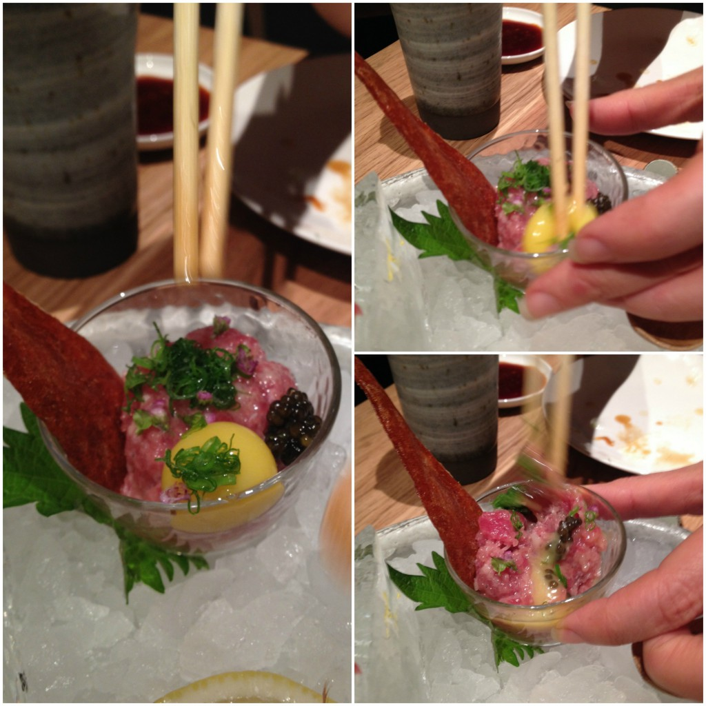 Roka - tuna tartare with oscietra caviar and quail egg yolk