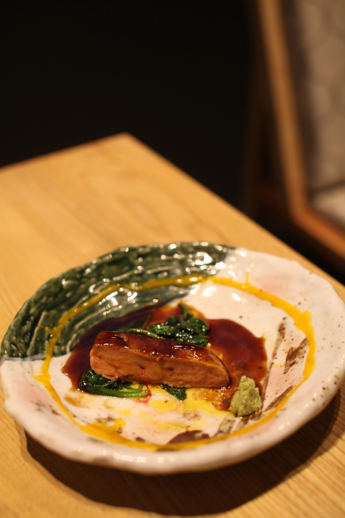 Kouzu - foie gras with spinach and teriyaki wasabi
