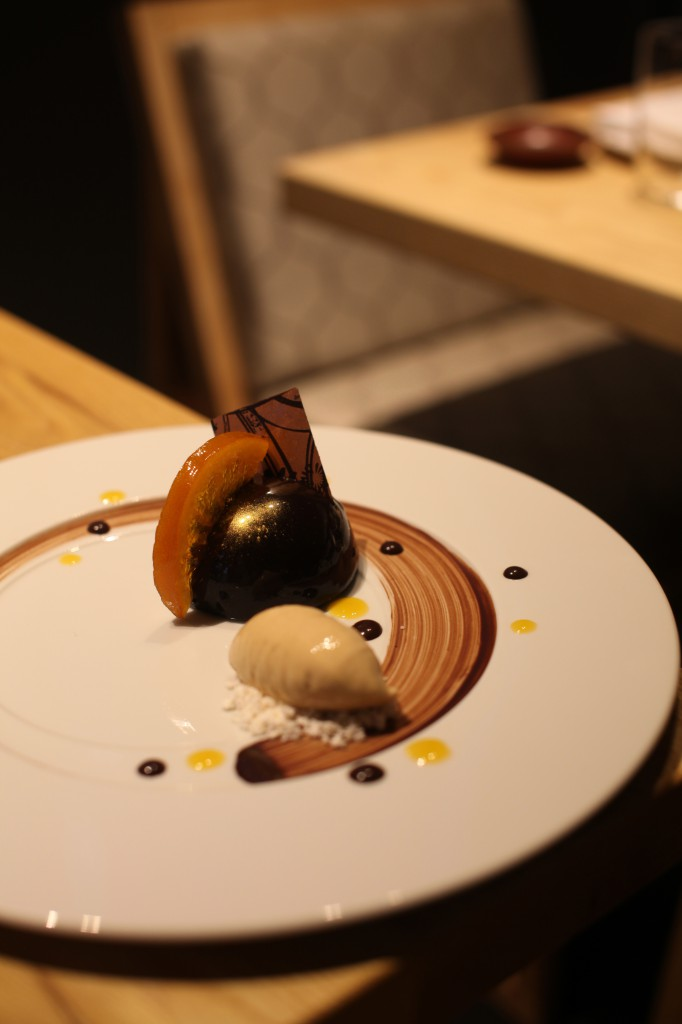 Kouzu - dark chocolate mousse with apricot brandy sauce