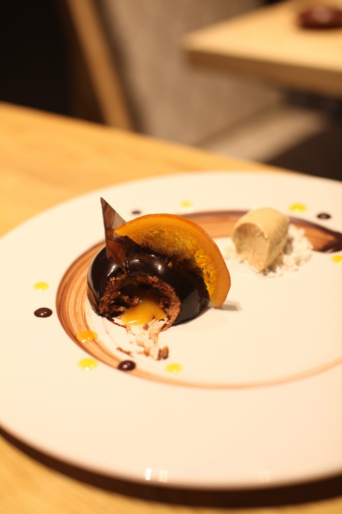 Kouzu - dark chocolate mousse with apricot brandy sauce