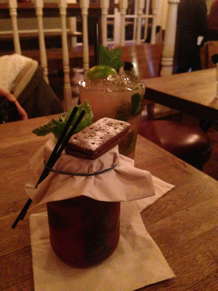Porky's - jam julep (Evan Williams Bourbon, Plum bitters, blackcurrant jam, mint, bourbon biscuit) & Gail Force (Havanna especial, goslings black seal rum, vanilla, orange bitters, passion fruit puree, pineapple juice & lime).