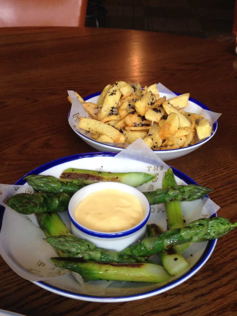 The Fish & Chips Shop - London Food Blog - Sides of asparagus & truffle chips