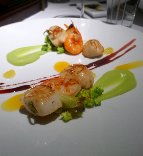 London Food Blog - Quattro Passi - Scallop & prawn skewer