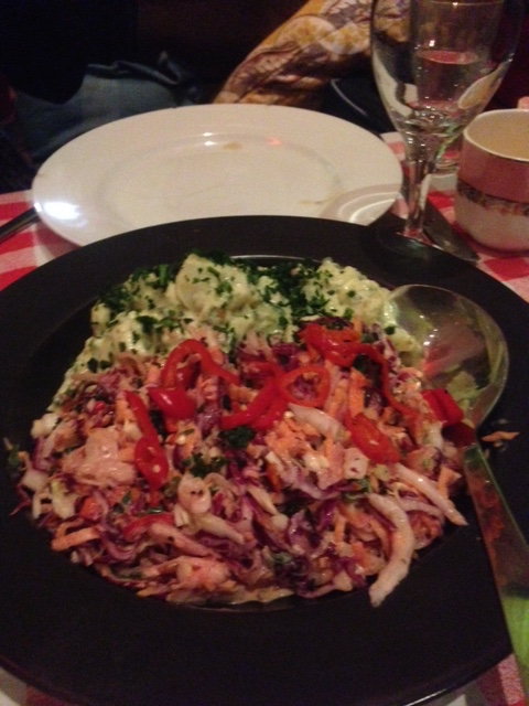The Little Yellow Door - London Food Blog - pickled chilli and kraut slaw, potato and bacon salad