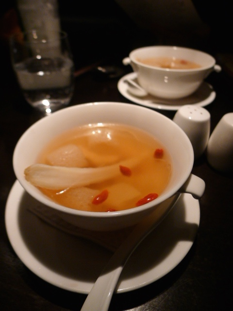 Hakkasan - London Food Blog - Double boiled fresh Ginseng and chicken soup with bamboo pith and wolfberry