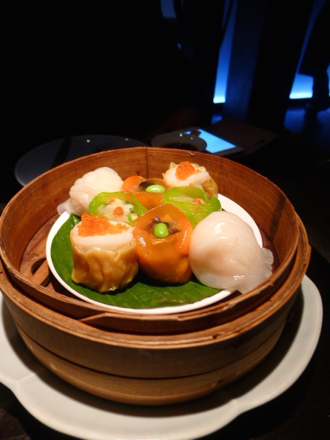 Hakkasan - London Food Blog - - har gau, scallop shumai, Chinese chive dumpling, duck and yam bean dumpling
