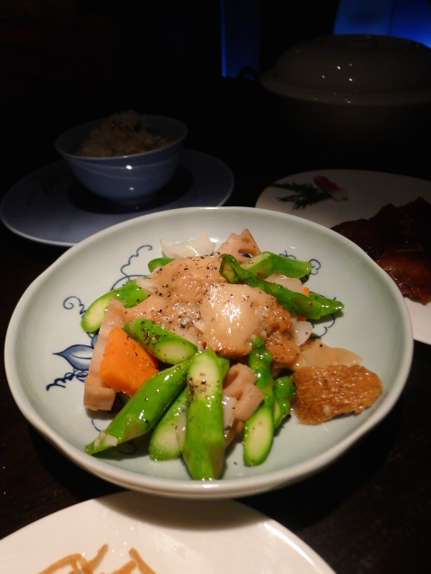 Hakkasan - London Food Blog - Stir-fry Hericium mushroom with lotus root, asparagus and lily bulb in black pepper