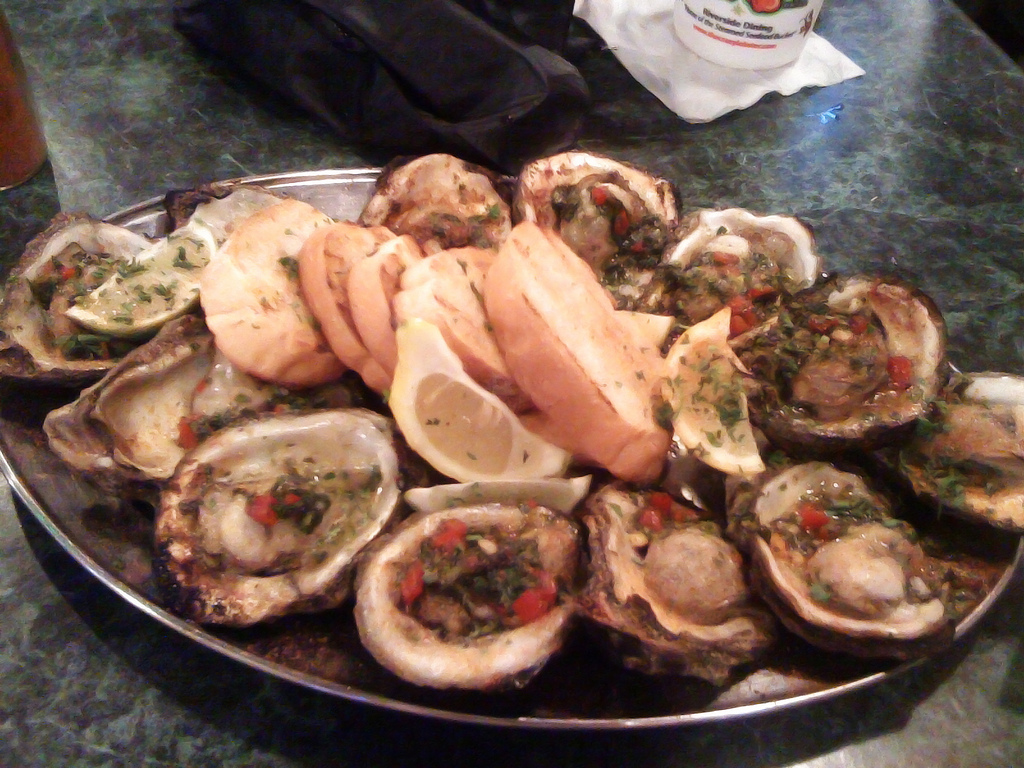 Caribbean broiled oysters at the Crazy Lobster